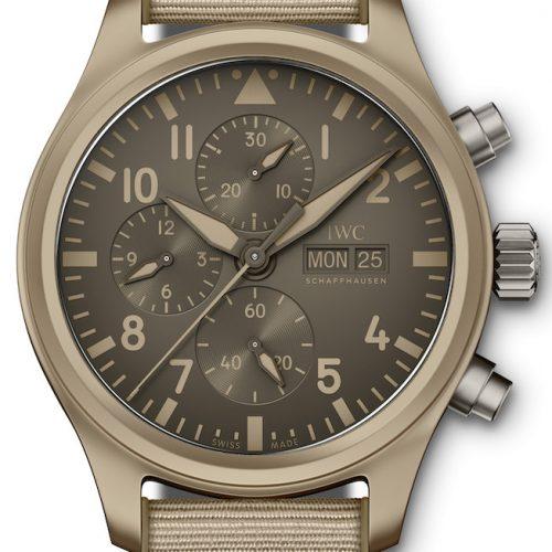 Der Pilot's Watch Chronograph Top Gun Edition »Mojave Desert« ist die erste Uhr mit einem Gehäuse aus sandfarbener Keramik.