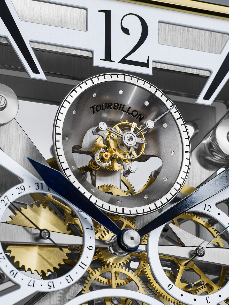 Das fliegendes Minutentourbillon sitzt in einem Trichter mit zwölf Brillanten mit kleiner Sekundenanzeige auf dem Trichterrand.