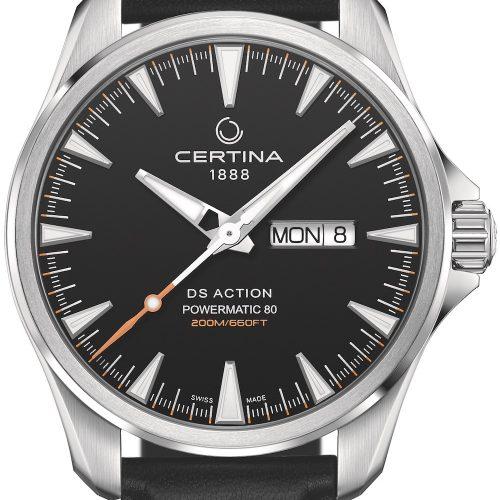Die DS Action Day Date von Certina mit schwarzem Zifferblatt und Lederarmband kostet 665 Euro.