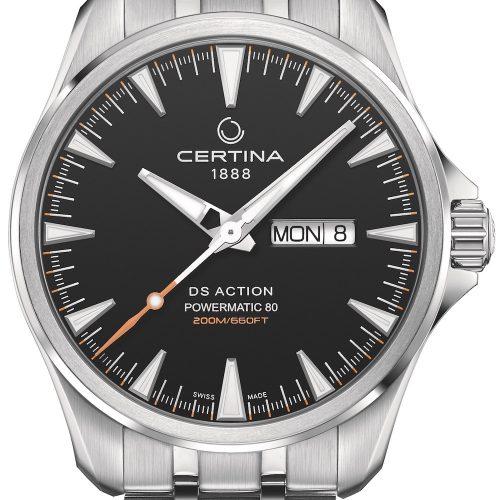 Die DS Action Day Date von Certina mit schwarzem Zifferblatt und Edelstahlband kostet 695 Euro.