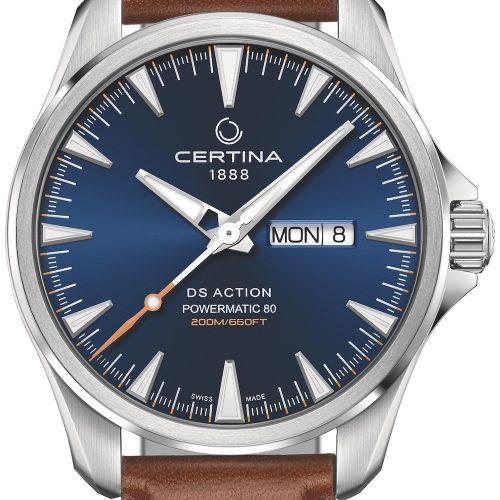 Die DS Action Day-Date von Certina mit blauem Zifferblatt und Lederarmband kostet 665 Euro.