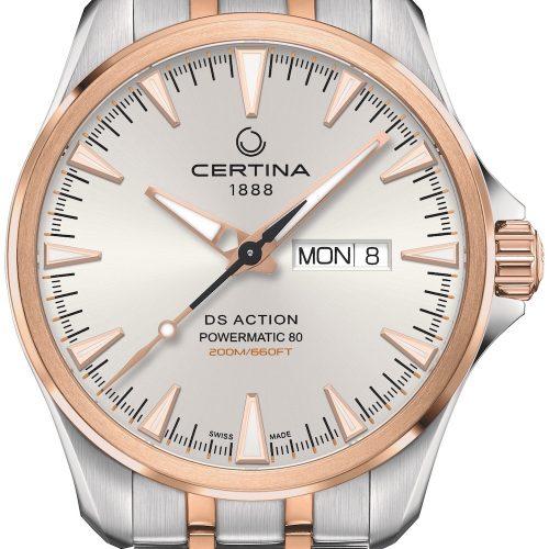 Die DS Action Day Date von Certina mit weißem Zifferblatt und roségoldfarbener PVD auf Lünette und Edelstahlband kostet 750 Euro.