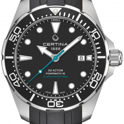 Die DS Action Diver von Certina besitzt einen Kronenschutz und eine einseitig drehbare Lünette.