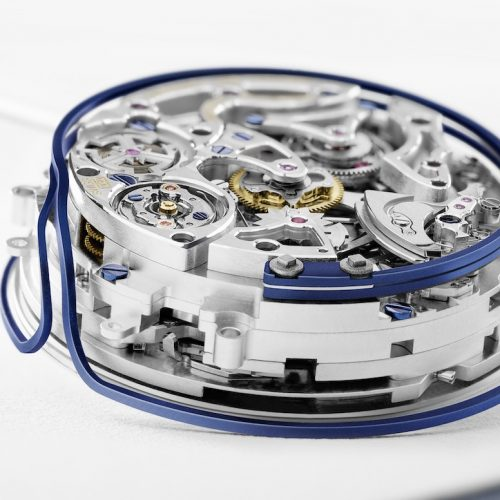 Der Rotor des Kalibers 950 der Master Grande Tradition Répétition Minutes Perpetuell dreht sich im Inneren des Werkes.