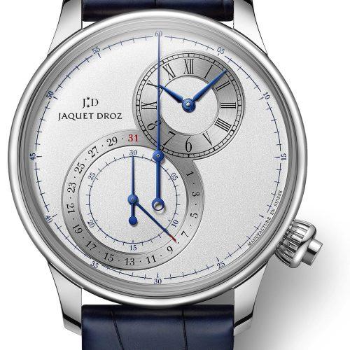 Der Grande Seconde Chronograph von Jaquet Droz in Edelstahl besitzt einen Durchmesser von 43 Millimetern und ist mit silbernem, blauem oder graubraunem Zifferblatt erhältlich.