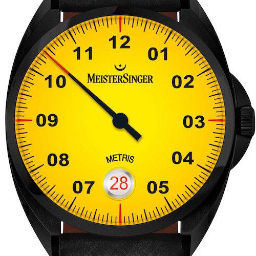 Ein leichter Farbverlauf ziert das gelbe Zifferblatt der Meistersinger Metris Black Line »Mellow Yellow«.