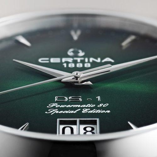 Das Großdatum der DS-1 Big Date Powermatic 80 von Certina befindet sich bei sechs Uhr.