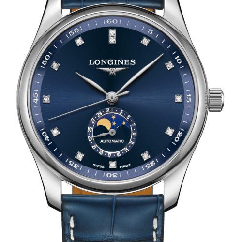 Die Master Collection Mondphase mit 40 Millimeter Größe, blauem Sonnenschliff und Diamantindizes kostet 2.360 Euro.