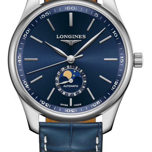 Die Longines Master Collection Mondphase mit blauem Sonnenschliff und Alligatorlederband kostet 2.100 Euro.