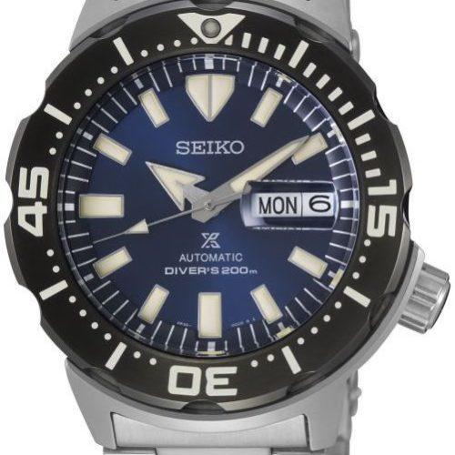 Die Prospex Monster SRPD25K1 von Seiko mit blauem Blatt und Edelstahlband.
