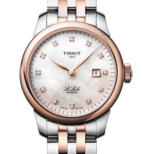 Die Tissot Le Locle Lady in roségoldener PVD-Beschichtung und zwölf Diamantindizes. 750 Euro