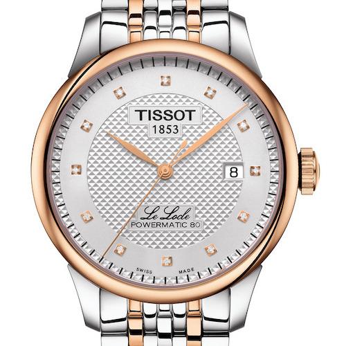 Die Tissot Le Locle Gent in Edelstahl mit roségoldfarbener PVD-Beschichtung und zwölf Diamantindizes. 750 Euro.