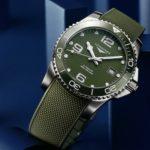 Die Longines Hydro-Conquest mit grünem Zifferblatt und Keramiklünette ist mit 41 und 43 Millimeter Durchmesser erhältlich.
