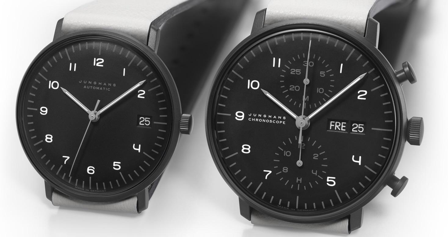 Das max bill Edition Set 2020 von Junghans- besteht aus einer Chronoscope- und einer Automatik-Uhr.
