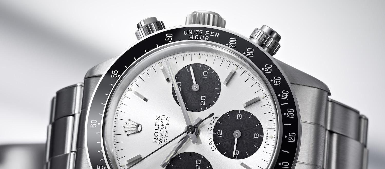 Der Chronograph von Rolex heißt Cosmograph Daytona, hier ein Modell von 1965.
