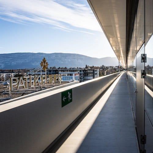 Der oberste Stock mit Panoramablick in das schweizer Jura.